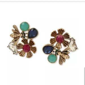 Betsey Johnson Bug & Flower Stud Earrings NWT